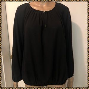 Vince Camuto Long Sleeve Blouse Top shirt black